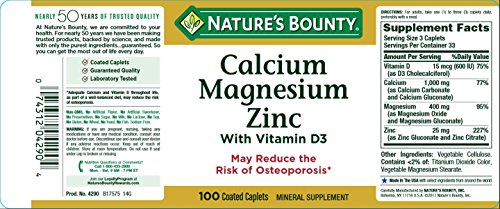 Nature's Bounty Calcium Carbonate Pills with Magnesium and Zinc Mineral Supplement, Supports Bone Strength and Health, 1000mg, 100 Caplets by Nature's Bounty (Image #4)