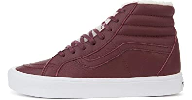 c30292cf17 Image Unavailable. Image not available for. Color  Vans Sk8 Hi Reissue US  Mens 8.5   Womens Size 10 Sherpa Burgundy True White Skateboarding