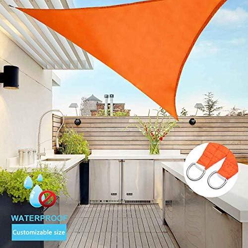 トライアングル日シェルターサンシェード保護屋外キャノピーパティオプールシェードセイルオーニングキャンプピクニックテント,オレンジ色,3*3*3m