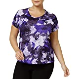 NIKE Womens Plus Miler Printed Dri-Fit Pullover Top Purple 3X