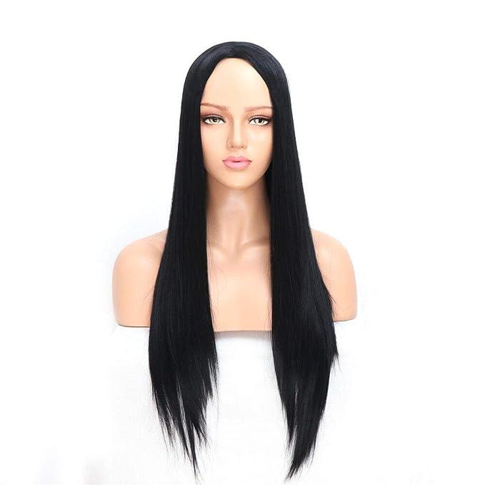 Peluca larga recta negra natural de la Golden Rule para el pelo sintético suave de las señoras que mira realista fibra resistente al calor 22 pulgadas: ...
