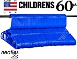 Neaties Children's Size Blue Plastic Hangers, USA Made Long Lasting Tubular Hangers, VALUE Set of 60