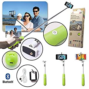 Gopromate Universal Wireless Extendable Self-portrait Bluetooth Monopod Handheld Selfie Stick Monopod for iPhone Samsung and other IOS and Android Smartphone (Green)