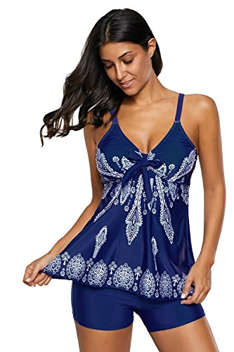 Urban Virgin Womens 2 Piece Bikini Spaghetti Strap Printed Padded Tank Top...