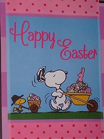 Peanuts Snoopy Happy Ostern Flagge Mit Woodstock Und Ostern Eier 12 Durch 45 7 Cm Amazon De Kuche Haushalt
