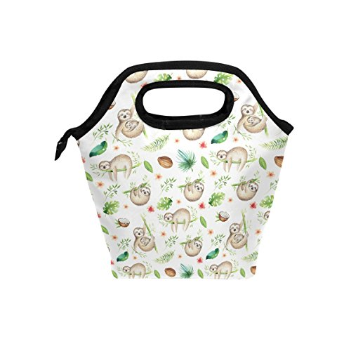 TropicalLife Lunch Tote Bag Funny Sloth Baby Zipper Insulated Cooler Reusable, Animal Sloth Lunchboxes Portable Lunch Bags Handbag for Adult Men Women Kids Boys Girls by TropicalLife (Image #5)
