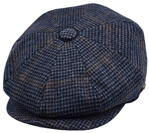 - Men's Wool Newsboy Cap, Herringbone Driving Cabbie Tweed Applejack Golf Hat (2745-Navy Plaid, Large)