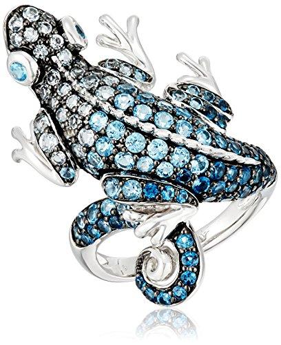 Sterling Silver Sky Blue Topaz, London Blue Topaz and Swi...