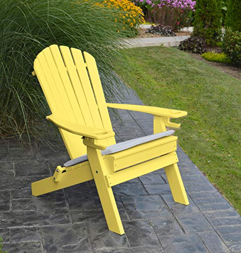 POLYWOOD ADIRONDACK CHAIR FOLDING-2 Two Cup Holders-Foldable Poly Wood Seating Recycled Plastic Chairs-Weatherproof Waterproof No Maintenance Outdoor Seat-Patio Deck And Dock Furniture (Lemon)