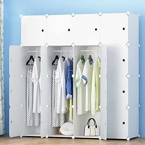 MEGAFUTURE Portable Wardrobe for Hanging Clothes, Combination Armoire, Modular Cabinet for Space Saving, Ideal Storage Organizer Cube for books, toys, towels(16-Cube, Extra Stickers Included)