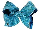 JoJo Siwa Large Signature Tiffany Blue Sequin Hair Bow Dance Hair Bow Cheerleader Bow
