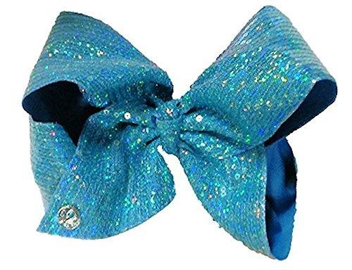 JoJo Siwa Large Signature Tiffany Blue Sequin Hair Bow Dance Hair Bow Cheerleader Bow (Tiffany Signature)