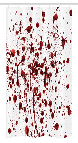 dolphin Ty Horror Stall Shower Curtain, Splashes of Blood Grunge Style Bloodstain Horror Scary Zombie Halloween Themed Print, Fabric Bathroom Decor Set with Hooks, 60W X 72 L Inches, Red White -