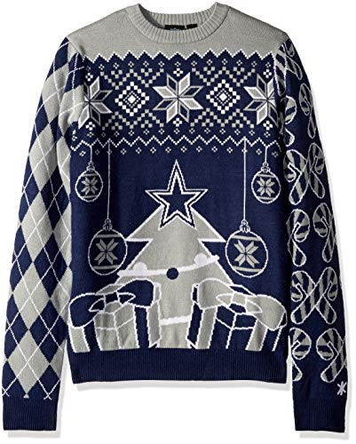 FOCO NFL Dallas Cowboys Mens Holiday Ugly Christmas Tree & Ornament Sweaterholiday Ugly Christmas Tree & Ornament Sweater, Team Color, Small
