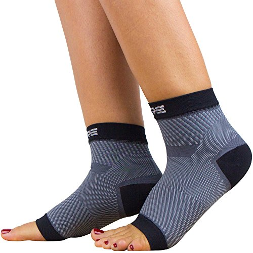 Ultimate Plantar Fasciitis Compression Sleeves (pair) – Relieve Plantar Fasciitis Pain, Arch Support – Lightweight Brace, Foot Sleeve, Open Toe (S/M, Black/Grey)