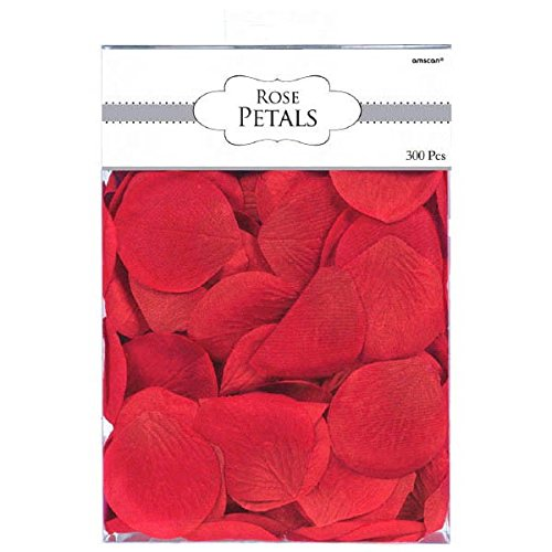 Amscan 249560.4 Nature's Finest Rose Flower Petals Party Decoration, Fabric, 2'', Pack of 300, 2.5'', Red