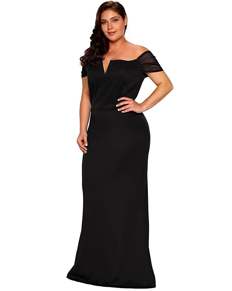18fca858e4 Amazon.com  Lalagen Women s Plus Size Off Shoulder Long Formal Party Dress  Evening Gown  Clothing