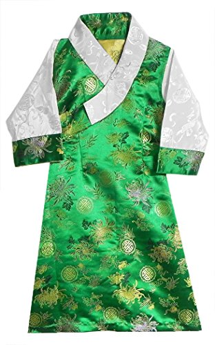 DollsofIndia Green Brocade Silk Sikkimese Dress for 1 To 2 Years of Age (LO45)