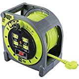Masterplug Heavy Duty Extension Cord Case Reel with 4 120V / 10 amp Integrated Outlets, 40ft