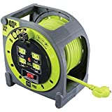 Masterplug 40ft Heavy Duty Extension Cord Case Reel with 4 120V / 10 amp Integrated Outlets