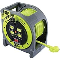 40 ft Extension Cord Caso carrete con tomas de 4 120 V 10 Amp