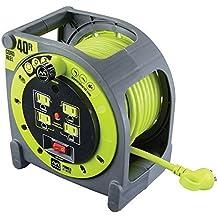 Masterplug carrete de estuche de cable de extensión resistente con tomas integradas de 4120V/10amperes, 40pies