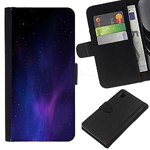 KingStore / Leather Etui en cuir / Sony Xperia Z1 L39 / Universo púrpura azul claro Galaxy polvo