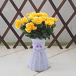 Yellow Artificial Flowers The Rhododendrons Plastic Flower Baskets Garden Decor - XHOPOS HOME 11
