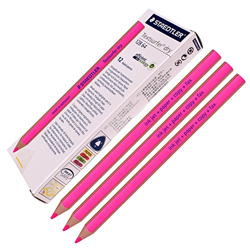 Staedtler Textsurfer Dry Highlighter Pencil 128 64 Drawing for Writing Sketching Inkjet,paper,copy,fax (Pack of 12 Pink)