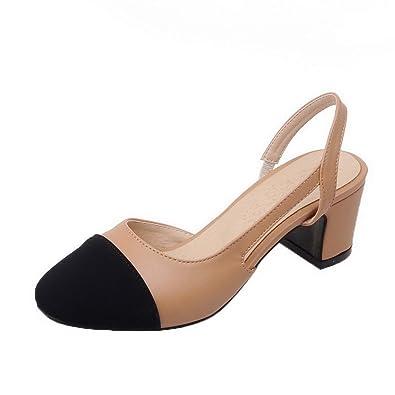 AgooLar Damen PU Mittler Absatz Spitz Zehe Gemischte Farbe Schnalle Pumps Schuhe, Schwarz, 33