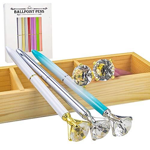 JPSOR 12 Pcs Bulk Color Diamond Ballpoint Pens Retractable Metal Crystal Pens with 12 Pcs Replacement Refills Photo #7