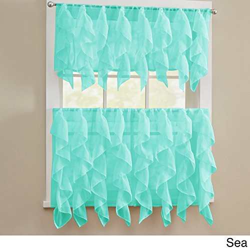 BED BATH N MORE Chic Sheer Voile Vertical Ruffled Tier Window Curtain Valance and Tier Sea 56 x 36 (Ruffled Voile)