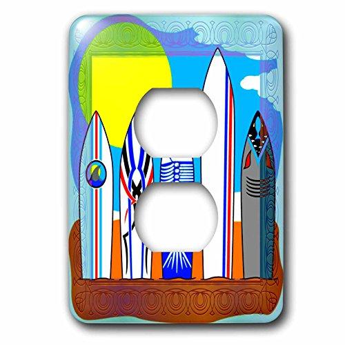 - 3dRose lsp_98687_6 Surfboard Line Up Clip Art Light Switch Cover