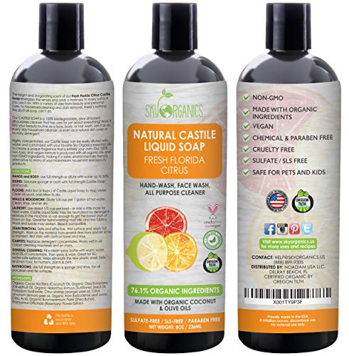 Castile Soap Organic Florida Citrus by Sky Organics (8oz