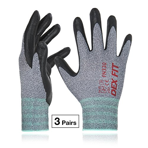 FN330, 3D Comfort Stretch Fit, Durable Power Grip Foam Coated, Smart Touch, Thin Machine Washable, Grey XX-Large 3 Pairs Pack (Silicone Skin Glove)