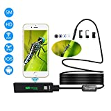 Wifi Endoscope, Slopehill 1200P Wireless Borescope Inspection Camera Rigid Snake IP68 Waterproof 2.0 Megapixel HD with 8 Led for Android and IOS iPhone, Smartphone, Tablet, PC (16.5FT)