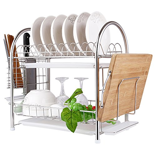Stainless Steel Dish Strainer (2 Tier SUS304 Stainless Steel Dish Drying Rack With Tray,Enamel Utensil Holder,Plates Organizer Drainer,Kitchen Rack Knife Dish Strainer For Counter- Large Capacity)