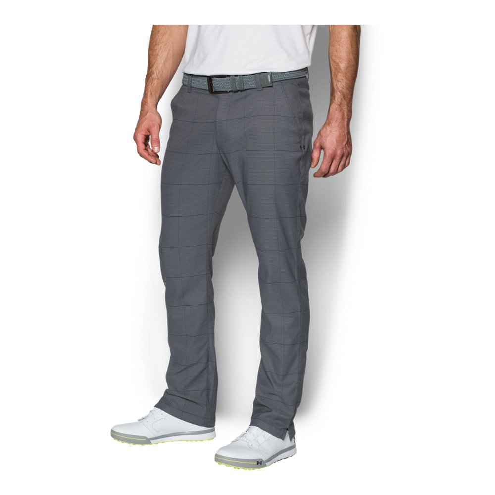 Under Armour Men's Match Play Tapered Houndstooth Pants,Rhino Gray /Rhino Gray, 32/32