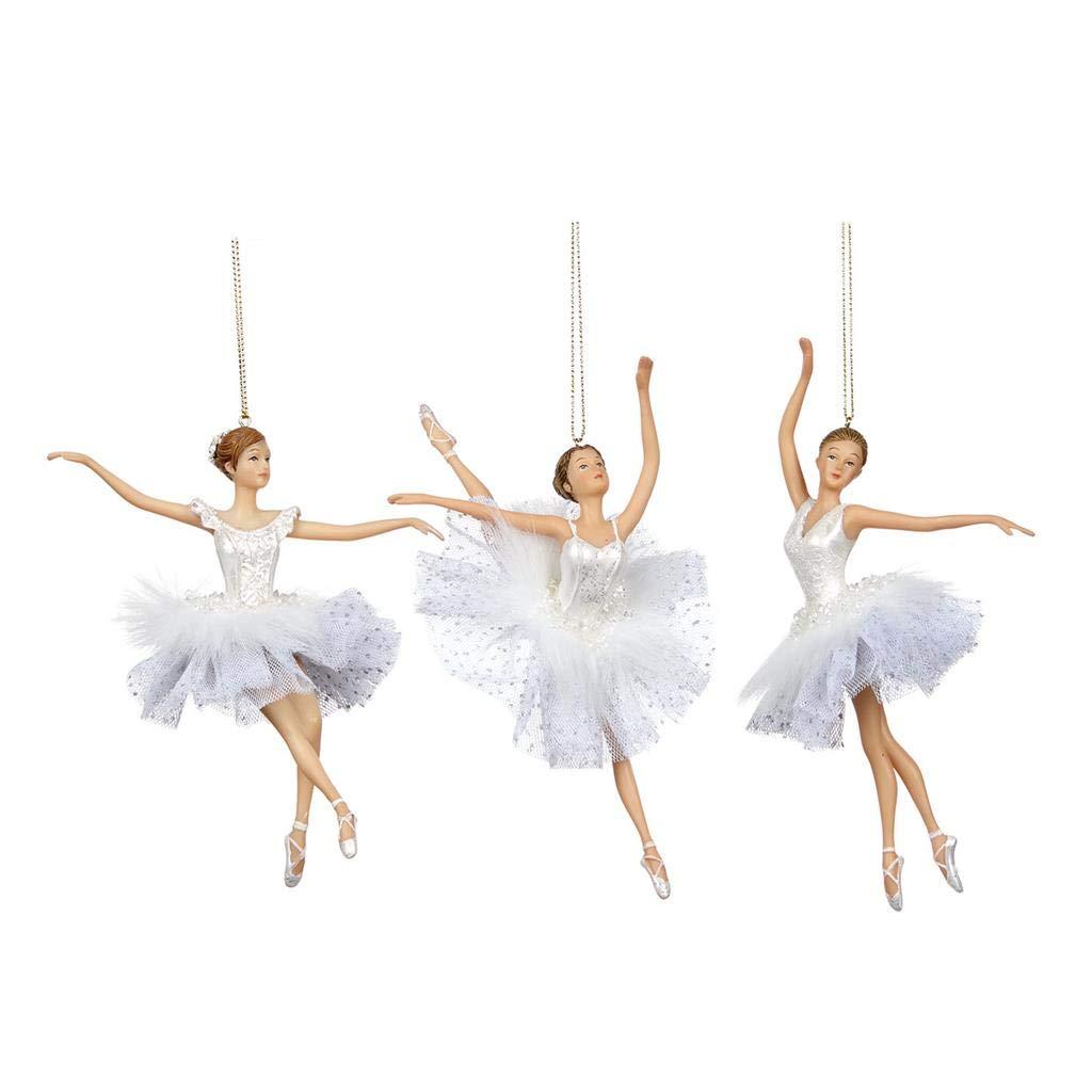 Goodwill Weihnachtsdekoration, Tüll, Kunstharz und Stoff, Ballerina, Weiß, 3 3 3 Stück a06344