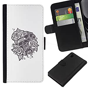 A-type (Tinta del tatuaje Cráneo Negro Rosa Blanco Amor) Colorida Impresión Funda Cuero Monedero Caja Bolsa Cubierta Caja Piel Card Slots Para Sony Xperia Z1 L39