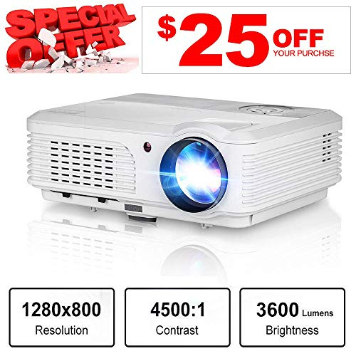 (HD LCD LED Video Projector 3600 Lumens Movie Gaming HDMI, Portable Projector Home Theater Indoor Outdoor Support 1080P HDMI USB VGA AV for Firestick Roku PS4 DVD Laptop HD TV Movies Party Art Tracing)