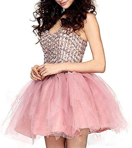 Ballkleid Cocktail Damen Ball Pink Fanciest Heimkehr Gowns Kurz 2016 Abendkleider Crystal Pink IqwT0