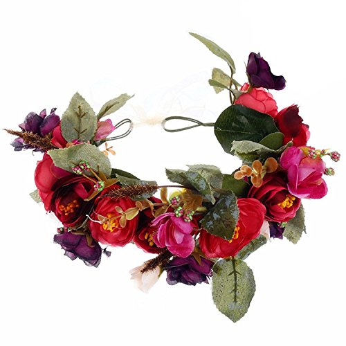 YnimioAOX Handmade Flower Headband Floral Crown Boho Wreath Halo Garland Headpiece for Festival Wedding Photography (F-(Rose & Sapphire Blue)) (Floral Pink Sapphire)