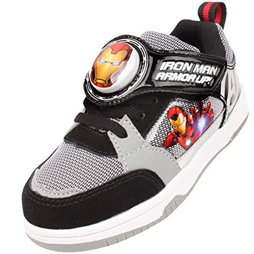 Joah Store Light Up Sneakers for Boys Black Hook and Loop Shoes Iron Man Avengers (Toddler/Little Kid) (9.5 M US Toddler, Iron-Man_A)