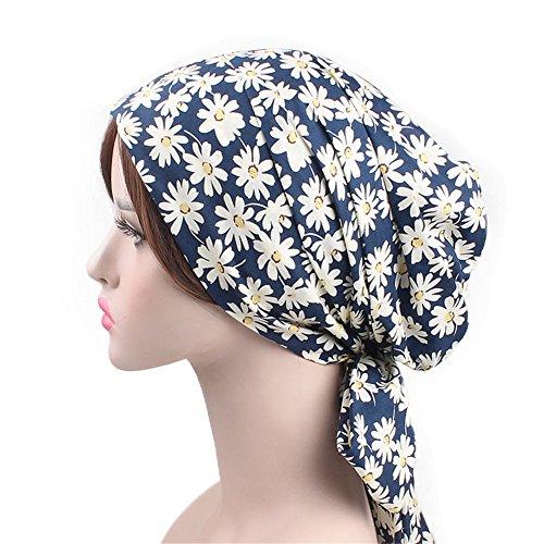 Vintage Women Cotton Head Scarf Chemo Cap Bowknot Turban Head wrap (Daisy)