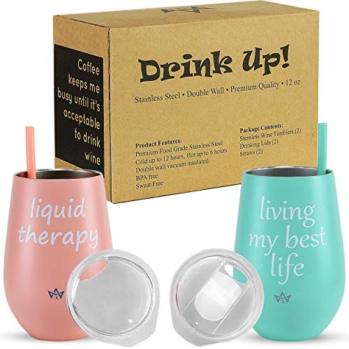 - Stainless Steel Tumbler Set of 2-12 oz Double Wall Insulated and Vacuum Sealed | Stemless Travel Cups with Lids and Straws | Pink Rose and Powder Blue Color | For Hot and Cold Drinks - Wine, Coffee