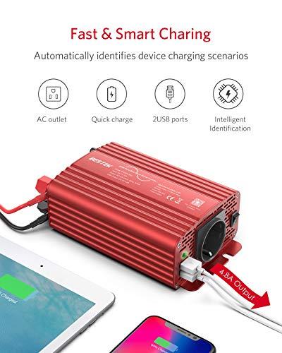 51vl2EhW5tL Wechselrichter 500W Reiner Sinus/Spannungswandler 12v 230v mit 4.2A Dual Smart USB-Anschlüsse Adapter Netzteil Kfz…