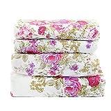 1800 Series (King) Super Soft Egyptian Comfort 4pcs KING Sheet Set Microfiber Floral Rose Purple & Pink