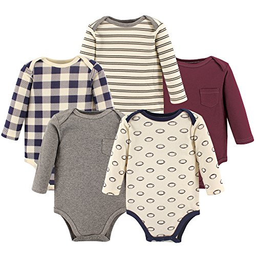 Hudson Baby Baby Long Sleeve Bodysuit 5 Pack, Football, 6-9 Months