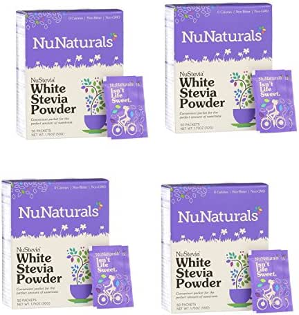NuNaturals Nustevia White Stevia Powder, 100 Count (4-Pack)